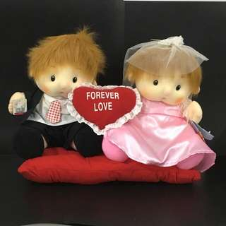 Bride Groom Couple Wedding Bridal Car Deco Love Stuffed Plush Doll Toy