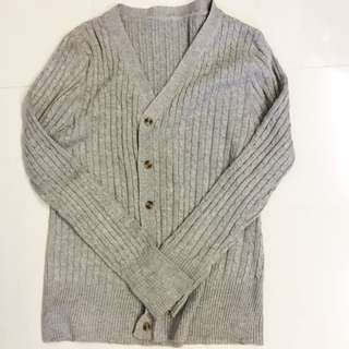 Grey Knitted Cable Cardigan