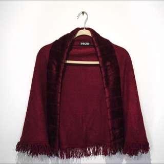 Vintage Deep Red Shawl