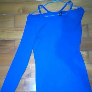 Free Size寶石藍彈性洋裝