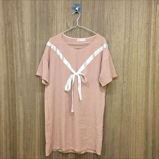 淡粉色蝴蝶結短袖
