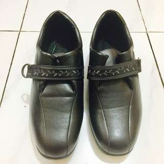 Faux Black Leather Shoes