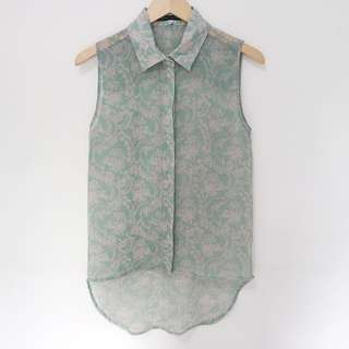 Dusty Green Batik Vintage Top