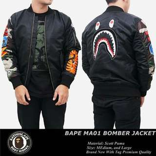 bomber jaket, jaket premium BAPE hitam tangan army