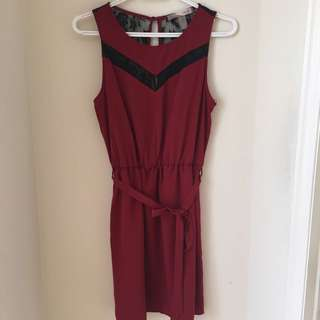 F21 Red Dress With black lace