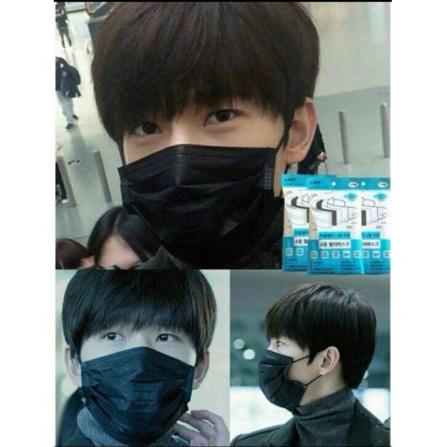 現貨韓國明星愛用低調黑色口罩3層不織布防塵搖滾黑口罩