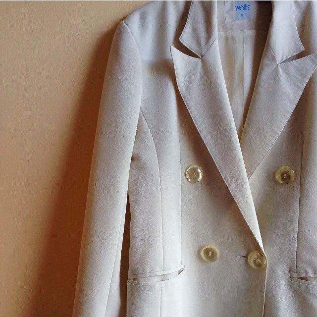 出清✨薄棉質縮腰西裝外套