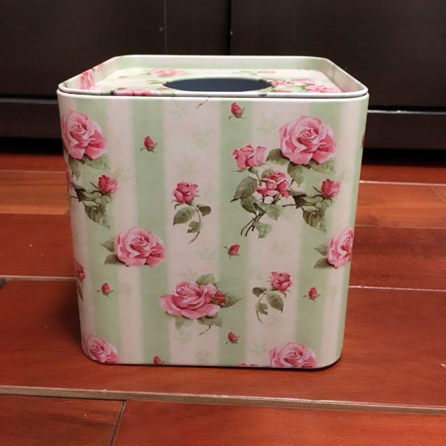 鄉村風玫瑰鐵面紙盒