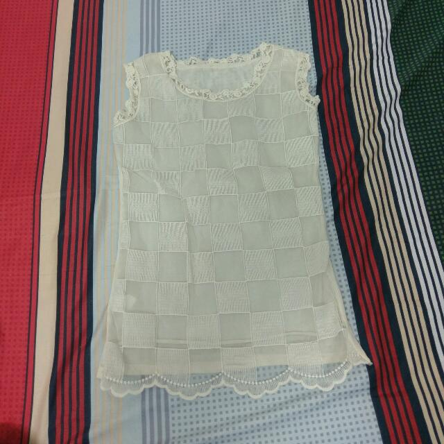 紗質刺繡蕾絲無袖上衣