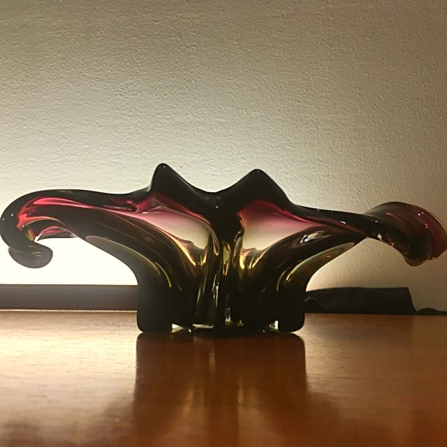 REDUCED XL Murano Sommerso Purple And Smoke Centrepiece