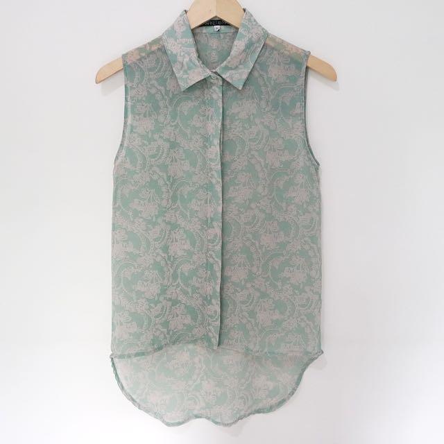 Dusty Green Batik Vintage Top