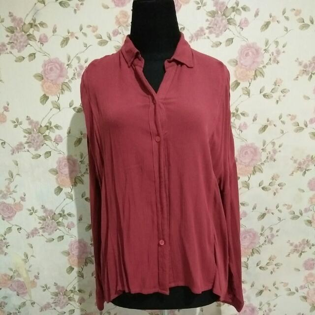 Batwing Red Blouse