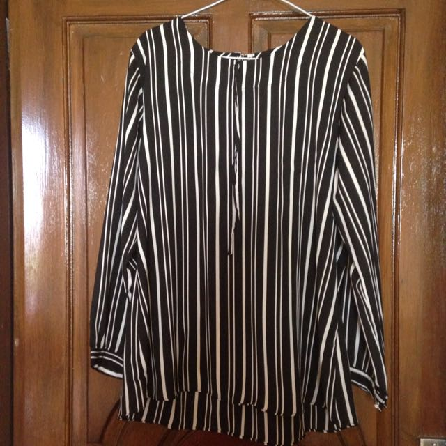 Black and White Stripes Blouse Long Sleeve