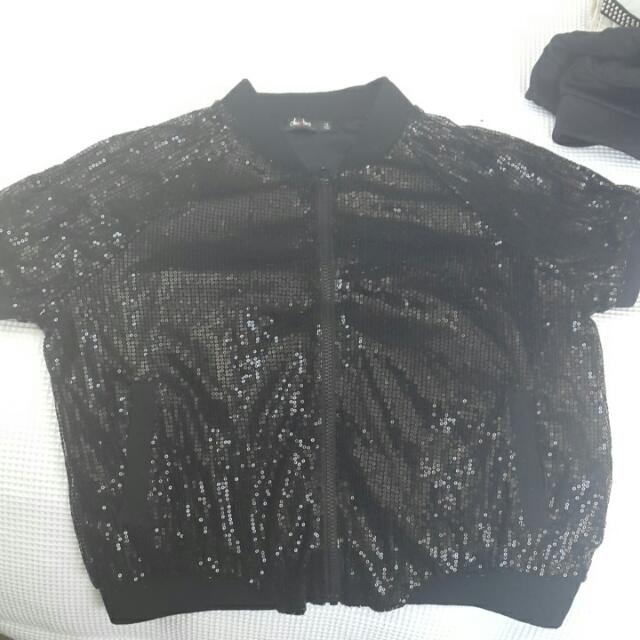 Black Sequin Zip Top