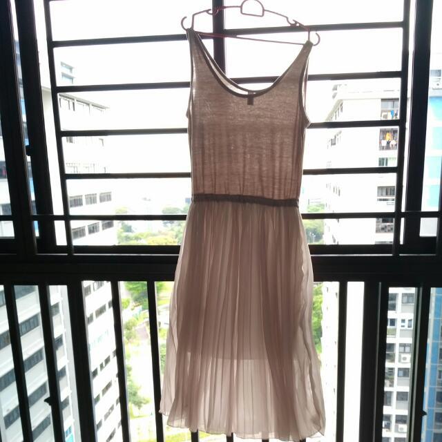 BUY 2 GET 1 FREE Cream Grey Midi Dress