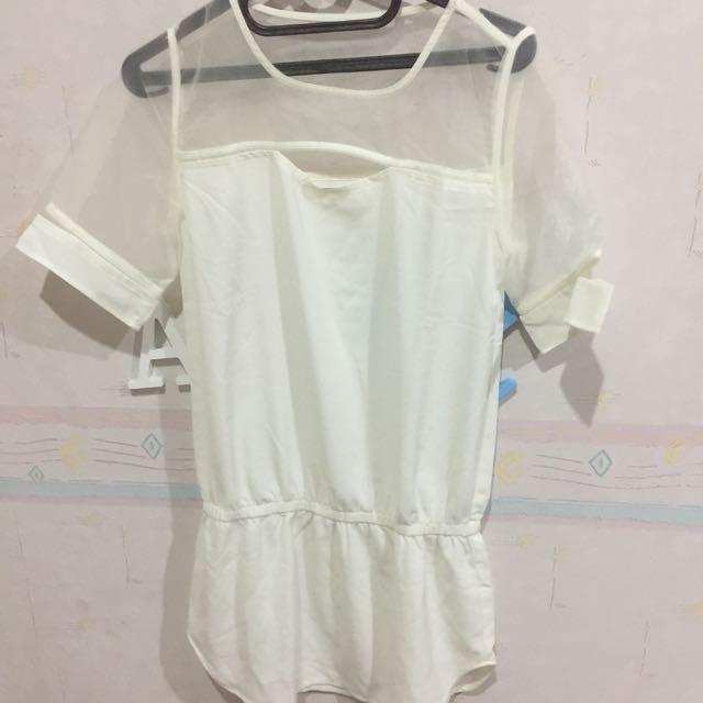 Dress Putih Transparant
