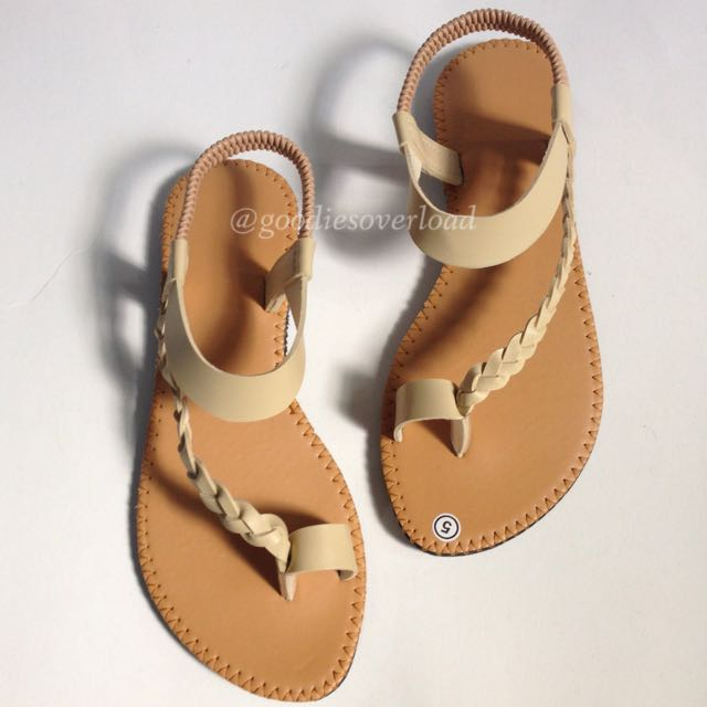 ❌RESERVED❌ Flat Sandals (Beige) - size 8