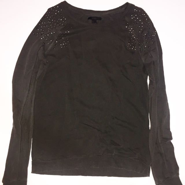 FOREVER 21 Dark Khaki Green Sweater with Stud Details