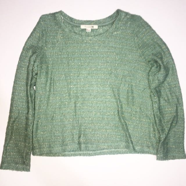 FOREVER 21 Green And Gold Knit Sweater