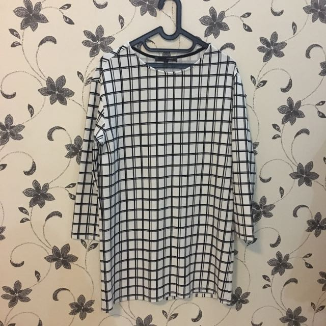 Grid Dress Black And White
