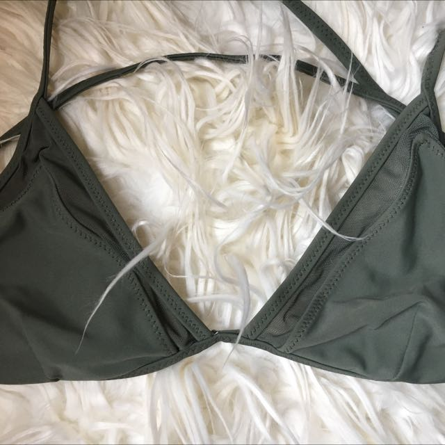 Khaki Mesh Bikini Top
