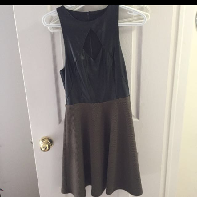 Marciano Black And Olive Green Flare Dress Xs