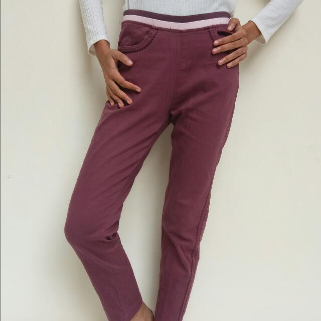 Maroon Strip Pants