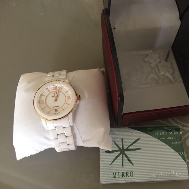 MIRRO白色陶瓷手錶(免運費)