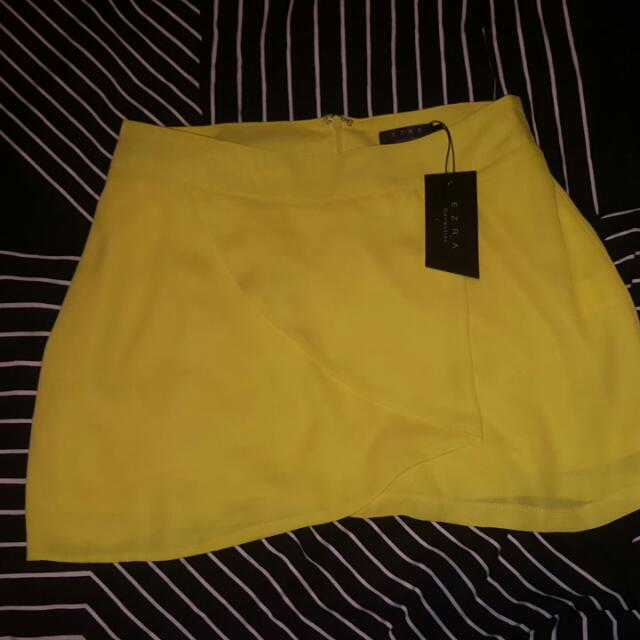 New Ezra Yellow 'Wrap A Line Skirt'