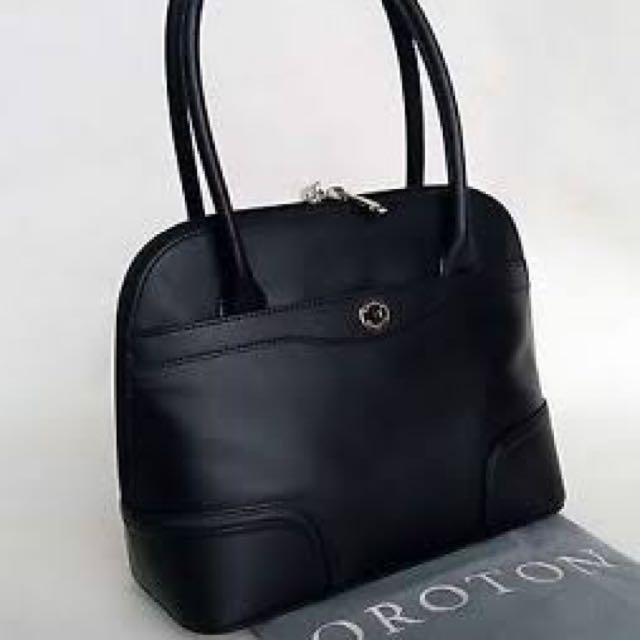 New Oroton Melanie Black Pebble Grip Top Leather Handbag Rrp 495 Womens Bag Women S Fashion Bags Wallets On Carou