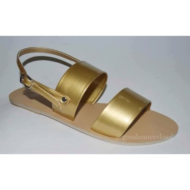 ✔️ON-HAND 👍🏼 Two-strap Flat Sandals (Gold) - size 9