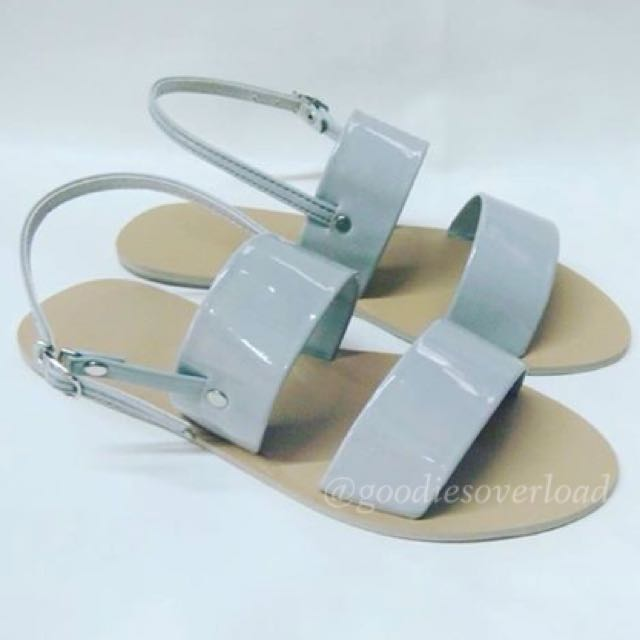 ✔️ON-HAND👍🏼 Two-strap Flat Sandals (Gray) - size 6