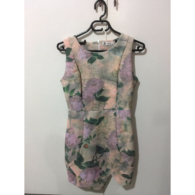 Paper Scissors floral bodycon dress