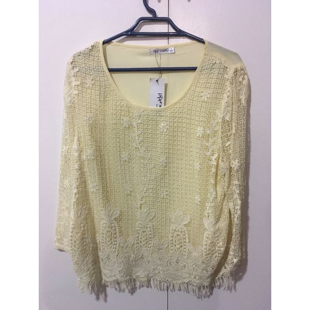 Paper scissors yellow chiffon top