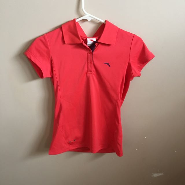 Red Women Anta Polo Shirt