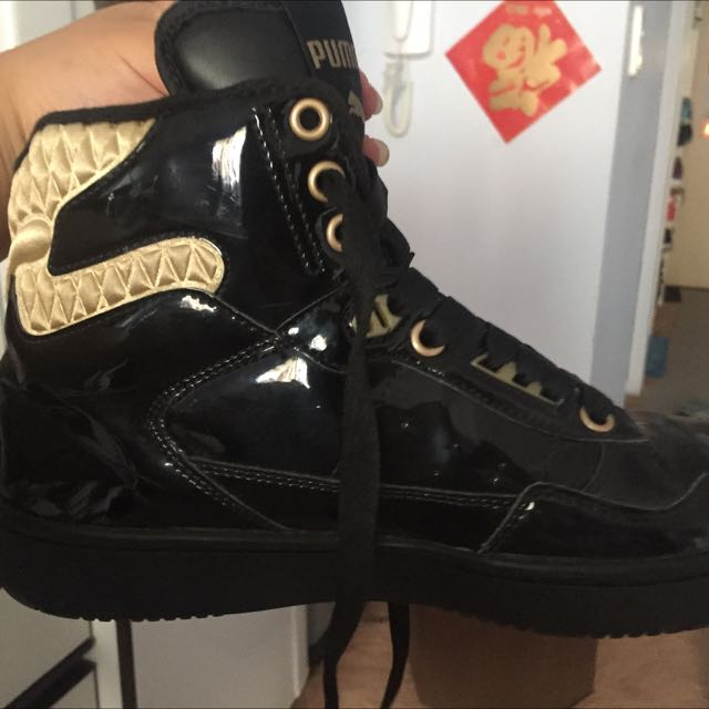 Size 38 Rare Puma Black And Gold High Tops