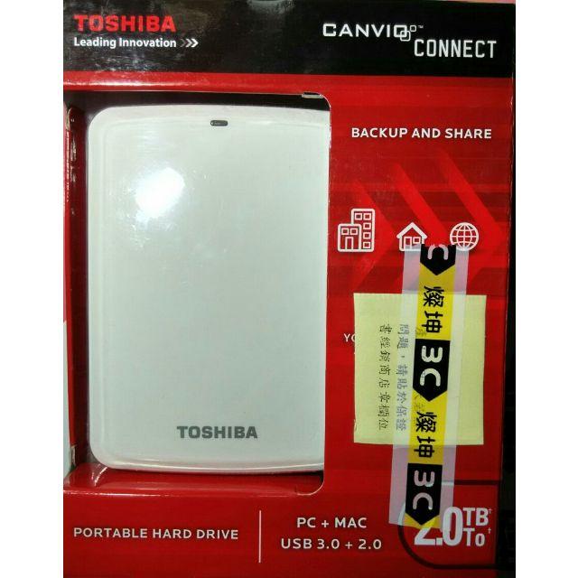 【全新未拆封】TOSHIBA 東芝 2TB USB3.0 CANVIO CONNECT 行動硬碟 隨身硬碟 2.5吋