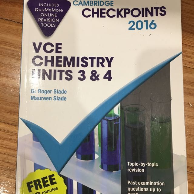 VCE Units 3&4 Chem Checkpoints 2016