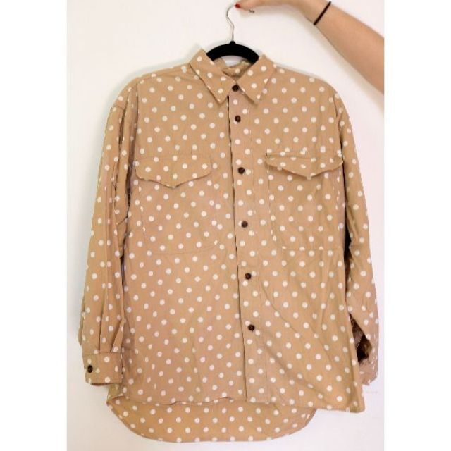 Vintage Mens Polka-Dot Button Up Shirt