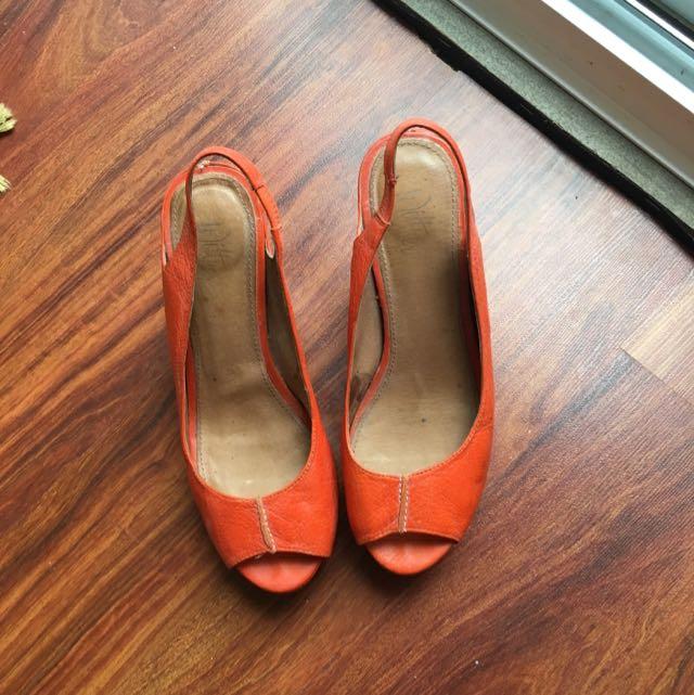 Wittner Orange Heeled Sandals