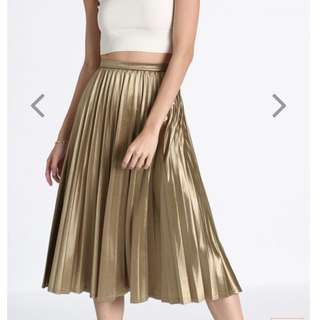 Love Bonito LB Marikate Gold Pleated Midi Skirt