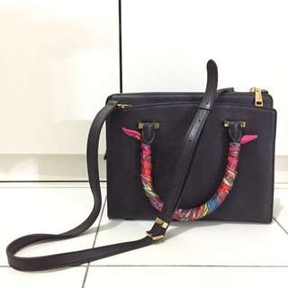 Double M black leather bag with gold-tone hardware