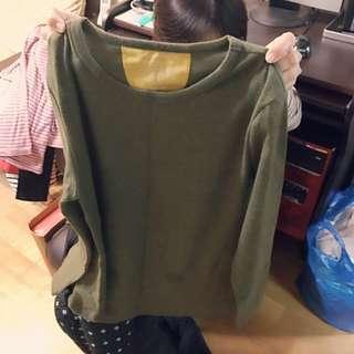 厚棉 寬版 上衣 墨綠 正韓
