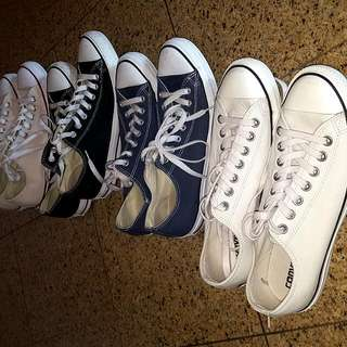 Four brand new converse (blue, tan, off-white and black) Size 9