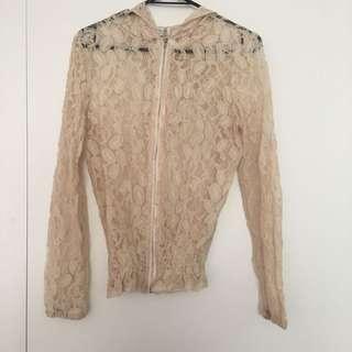 Cream Lace Zip Up Jacket