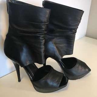 Black Leather Stilettos