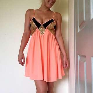 Gold, Black And Orange Flowing Dress