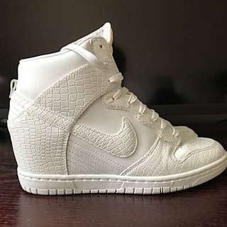 Nike Dunk Sky High Wedge Sneakers Size 8 White