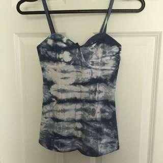 Aritzia Talula Noho Bustier Blue Tie Dye size XS