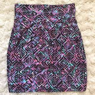 Aritzia Talula Multicolor Print Bodycon Skirt size M NWOT